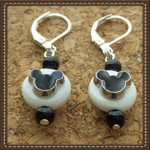 Natural Shell Mickey Mouse Lever-back Earrings